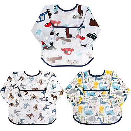 Joylife baberos bebe impermeables, 3 Piezas Baberos Bebés con Mangas Impermeables Bolsillo Delantero Algodón, Baberos de Alimentación Babero de Pintura para Bebé de 6-24 Meses Comiendo Jugando