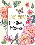 """2021-2025 Five Year Planner: 5 Year - 60 Months Calendar Planner,Flower Coloring Page with Inspirational Quotes   See it Bigger Monthly Schedule Organizer   8.5""""x11"""",Flower Cover"""