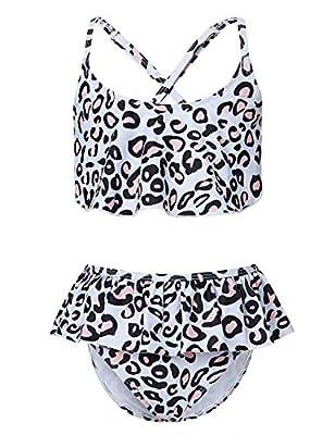 Adolife Toddler Girls Bathing Suits Leopard Pattern 2-Piece Swimsuits Ruffle Falbala Bikini wiht Criss Cross Back Teen Girls Swimwear 10-12 Years