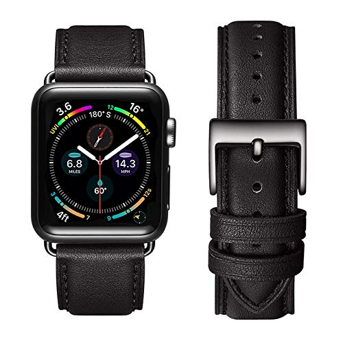 apple watch series 6 price drops as low as 339 today only OMIU Square Bands Compatible for Apple Watch 38mm 40mm 42mm 44mm, Genuine Leather Replacement Band Compatible with Apple Watch Series 6/5/4/3/2/1, iWatch SE (Black/Black Connector, 38mm 40mm)