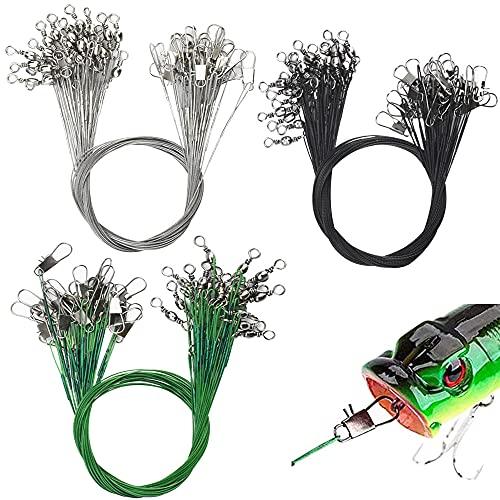 PERFETSELL 75 Pcs Cable de Acero para Pesca 30cm Alambre Acerado para Pesca Hilo Acero Pesca Cable del Líder con Giratorios y Broches de Presión para Pescar en el Mar, 3 Color, Verde,Negro, Plata