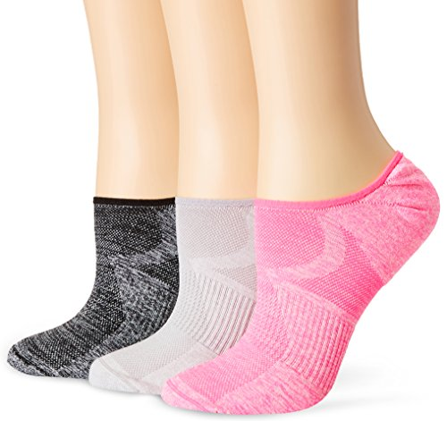 HUE Women's Air Sleek Liner Socks with Cushion 3 Pair, Neon Pink Pack, One Size (Pack of 3)