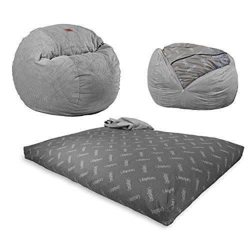 CordaRoy's Chenille Bean Bag Chair, Convertible Chair Folds from Bean Bag to Bed, As Seen on Shark Tank, Charcoal - King Size