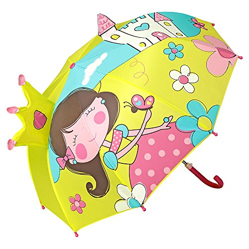 VON LILIENFELD Regenschirm Kind Kinderschirm Junge Mädchen Motiv Prinzessin mit Schloß bis ca. 8 Jahre