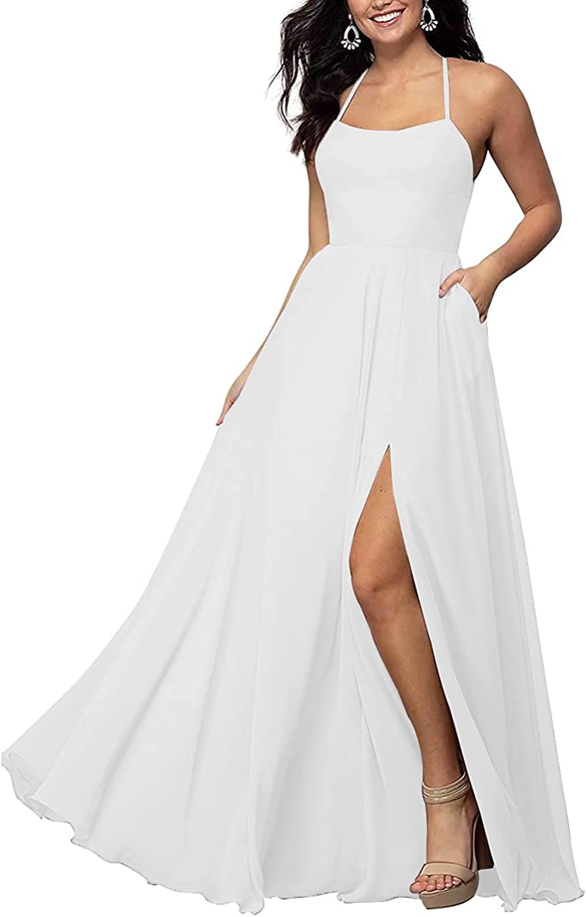 Women's Long Chiffon Bridesmaid Dresses High Split Backless Sleeveless Prom Dress Halter Fomal Gown with Pockets