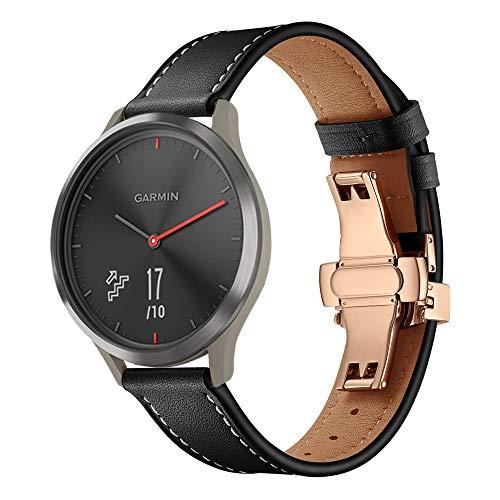 XZZTX echt lederen vervangende band, 20 mm Quick Release Band Compatibel met voor Garmin Vivoactive 3/Vivomove HR/Galaxy Horloge/Galaxy Horloge Actief