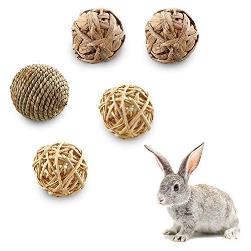 LATTCURE 5 bolas de mimbre, juguete para masticar para conejos, cobayas, juguetes divertidos para animales pequeños para conejos, loros, chinchillas, hámsters, conejos enanos.
