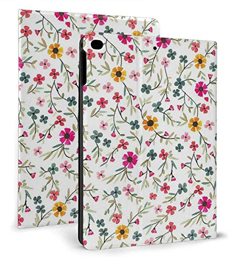 Flowered PU Leather Smart Case Auto Sleep/Wake Feature for iPad Air 1/2 9.7' Case