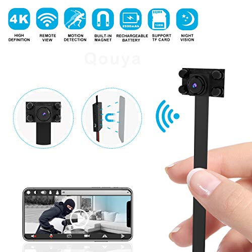 Hidden Camera Spy Camera Wireless Hidden WiFi Camera - 4K HD Small Nanny Cam Mini Camera - DIY Camera 2500mAh Home Security Camera with Night Vision/Motion Detection, App Supports iOS/Android/PC