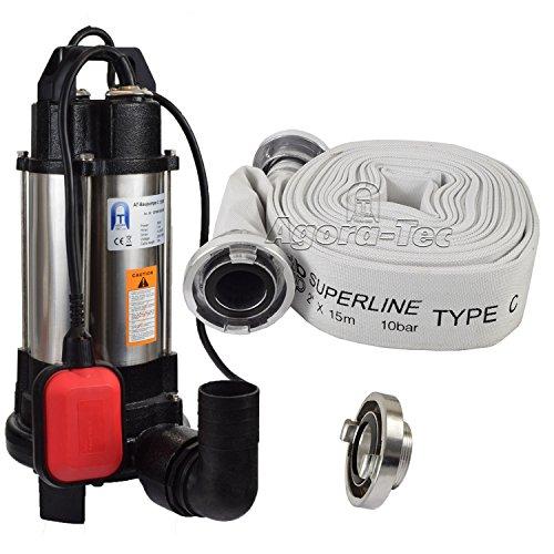 Agora-Tec® AT- Baupumpe-C-750W (mit Schneidwerk) Tauchpumpe für Schmutzwasser, Abwasser, für Fäkalien und organische Feststoffe mit Schwimmerschalter und max: 0,75 bar und max: 14000l/h inklusive C - STORZ Kupplung und (C-Schlauch: 15 Meter)