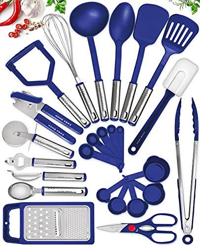 Home Hero Kitchen Utensil Set - Nylon Cooking Utensils - Kitchen Utensils with Spatula - Kitchen Gadgets Cookware Set - Kitchen Tool Set (25 Piece, Navy)