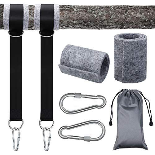 Mayepoo Hängematte Befestigung 1.5M reißfeste Polyesterfaser, hält bis zu 100 kg mit D-Ringen 2 Karabinerhaken 2 Filzschutzpolstern und 1 Tasche geeignet für Schaukel Hängematte leicht zu tragen