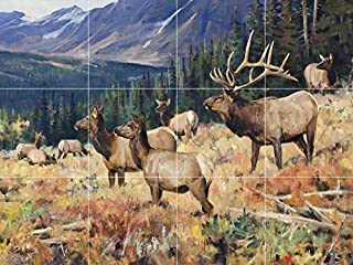 elk Moose Deer Wildlife Antlers Ceramic Tile Mural backsplash Art Painting 24
