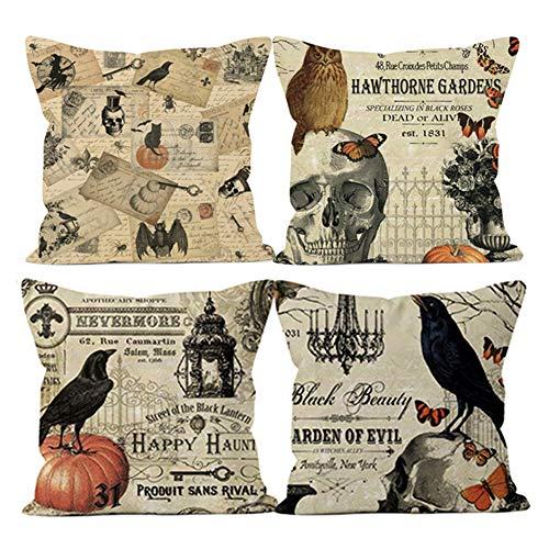 RB 4 stuks Halloween schedel gooien kussenslopen, schedel en pompoen gooien kussensloop Skeleton katoenen linnen kussensloop voor Halloween Thanksgiving kerst herfst, 18 x 18 Inch