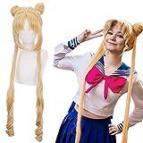 Ebingoo Long Wavy Cosplay Wigs with Buns for Sailor Moon Tsukino Usagi +Free Wig Cap