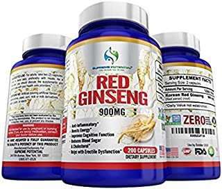 Supreme Potential 100% Pure Korean Red Ginseng for Natural Energy and Cognitive Function Boost, Contains Zero GMOs - 900mg - 200 Capsules - 100 Day Supply - Manufactured in The USA