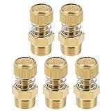 Silenziatore pneumatico di scarico aria regolabile DealMux Copper 1/4 BSPT con tono oro caricato a molla 5pz