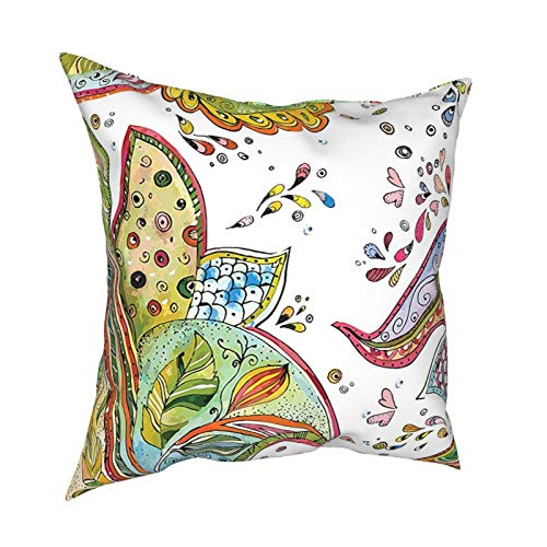Cap Hat Grunge Home Decor Patterns of Leaves Flowers and Heart Shapes Abstract Garden Theme Art Print Green Orange 12'X12' 16'X16' 18'X18' 20'X20' Pillow- No Inserts Included