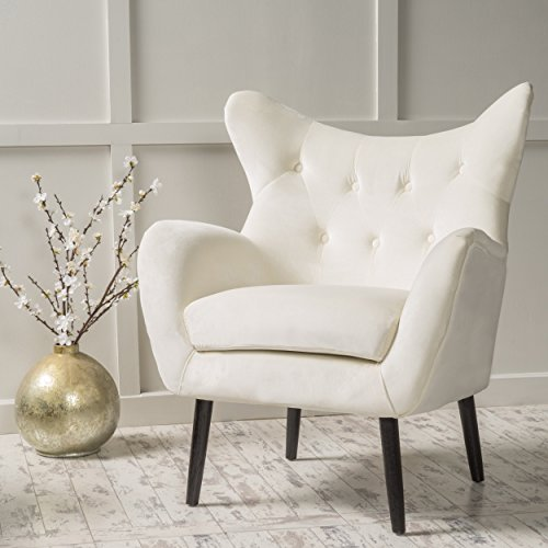 Christopher Knight Home Seigfried Velvet Arm Chair, Ivory