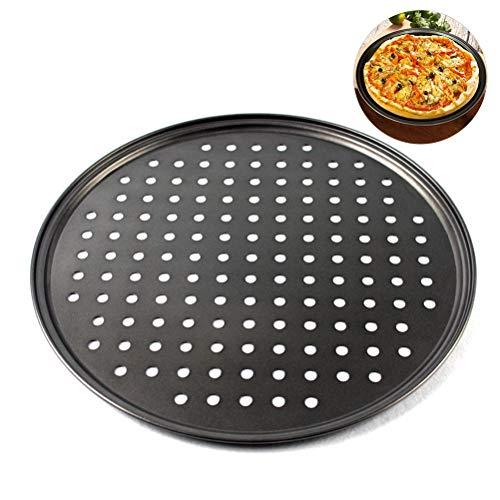 Ahagut Pizzablech Rund Gelocht Antihaft Pizza Tablett mit Löchern für Verwendung im Hotel Restaurant(26CM)