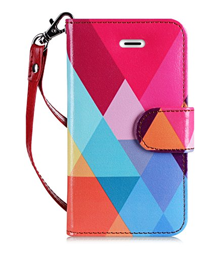 FYY Case for iPhone SE/iPhone 5S/iPhone 5, [Kickstand Feature] Luxury PU Leather Wallet Case Flip Folio Cover with [Card Slots][Wrist Strap] for iPhone SE/iPhone 5S/iPhone 5-Colorful