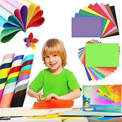 Farbiges A4-Papier-Set, farbige Karton, 50 Blatt, 10 verschiedene Farben, Origami-Papier mit Schere,farbiges Kunstpapier (297 x 210 mm) (230 g/m²)