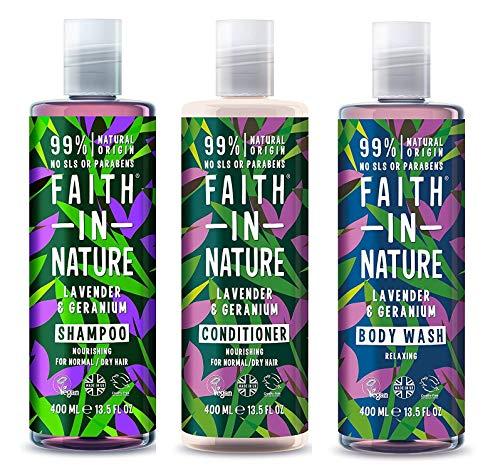 Faith In Nature Lavender & Geranium Shampoo, Conidtioner & Shower Gel Trio