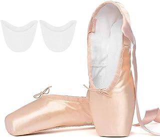 Tancefair Chaussures de Ballet de Pointe Rose Chaussure de Danse avec Satin Rubans de et Protège-Orteils pour Ballerines F...