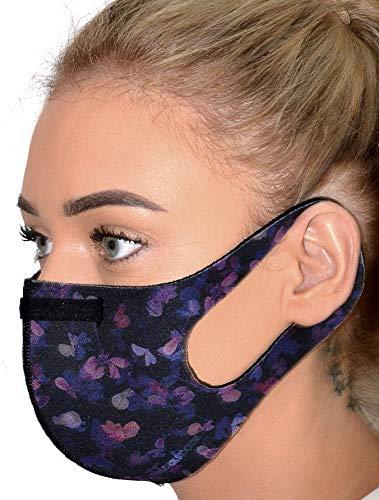 Wiederverwendbare Gesichtsbedeckung für Damen, mit Nasendraht, schützende Gesichtsbedeckungen, waschbar bei 60 Grad, Pfingstrose (groß)