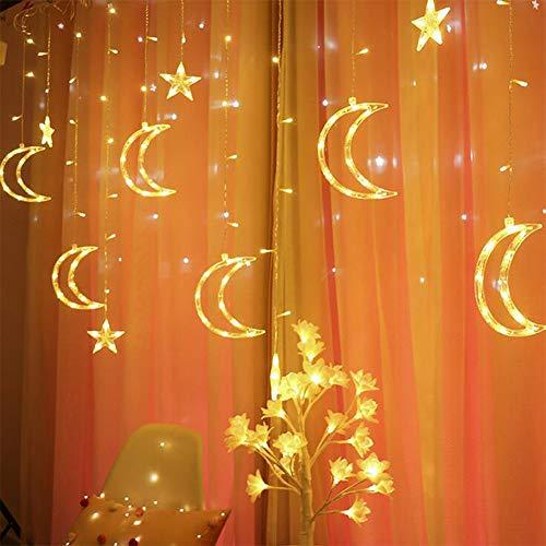 Queta Luz Cortina 138 LED Luna y Estrellas con luz Garland Plug Decoración interior Árbol Navidad Ventana Casa de boda (Blanco cálido)