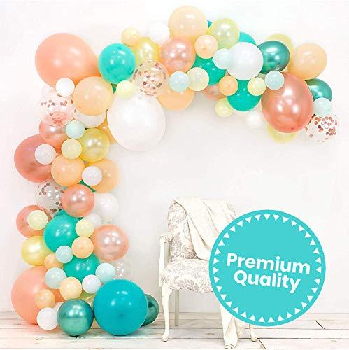 Junibel Balloon Arch & Garland Kit | Blush, Rose Gold Confetti, White, Chrome Sea Foam, Pastel Yellow | Adhesive Dots & Decorating Strip | Holiday, We...