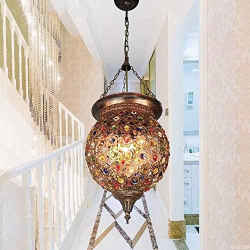 Skingk Bohemia turca Luces colgantes Lámpara de vidrio manchado Luz Lámpara de techo Lámpara de techo marroquí Luminaria Pasillo Escalera Restaurante Decoración industrial
