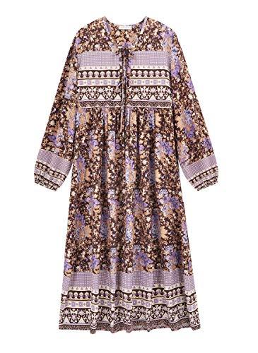 R.Vivimos Women's Casual Bohemian Print Neck Tie Long Sleeve Beach Style Long Midi Dress Vocation Dress (Small, Multicolor/1)