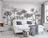 ZCLCHQ Papel Pintado Fotográfico Blanco y negro y palmera Tipo Fleece no-trenzado Salón Dormitorio Despacho Pasillo Decoración murales decoración de paredes moderna Tamaño:W350CMxH256CM