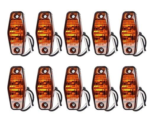 Lot de 10 feux de gabarit latéraux 24 V 2 LED Ambre Orange Camion Benne Caravane Camper Bus avec lunette chromée