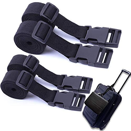 Luggage Straps Suitcase Belts, Adjustable Black Travel Packing Belt with Buckle Closure, Webbing Strap Nylon Heavy Duty Straps Webbing Straps with Buckles Luggage Straps Utility Strap (4 Pack Black)