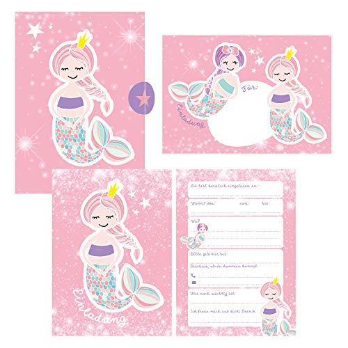 12 Glitzer Einladungskarten Meerjungfrau zum Geburtstag für Mädchen inkl. Umschläge | rosa glitzernde Geburtstagseinladungen für Kinder |: Einladungen ... Anlass + Kindergeburtstag, Übernachtungsparty