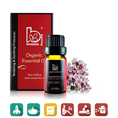 Sweet Marjoram 10ml - Bonnie House Essential Oils – 100% Organic ACO and USDA Certified Organic, Therapeutic Grade and Aromatherapy Use for Massage, Diffuser, Air Humidifier, Gift Set and Kit