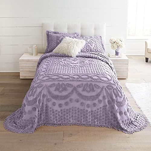 BrylaneHome Georgia Chenille Bedspread - King, Lavender Gray Purple