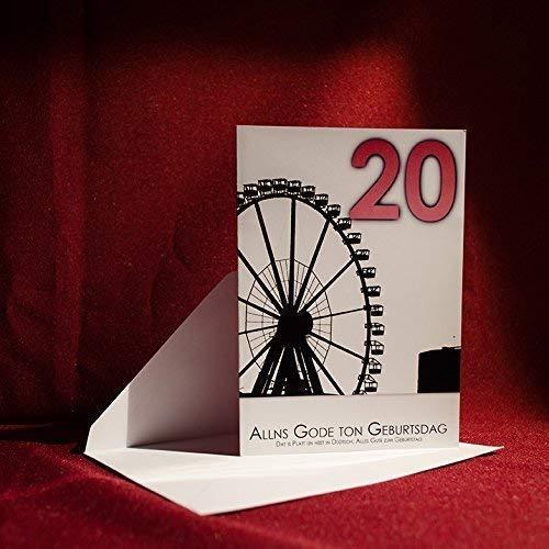 Fotoart-Hamburg Geburtstagskarte auf Plattdeutsch - Hamburg 20 Jahre - 100% Handmade | A6 Karte mit Umschlag | Grußkarte op Plattdüütsch, Gruß - Klappkarte, Faltkarte, Jubiläum, Glückwünsche