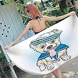 BCDJYFL Impresas Toalla De Playa Cachorro Marinero Toallas De Playa Microfibra Toallas De Yoga para Exteriores Suaves Y Absorbentes.70X150Cm