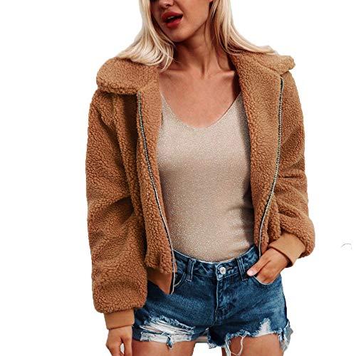 MRULIC Damen Jacke Faux Pelz Warm Kunstfigur Langarm Kurzmantel Felljacke Tops Frauen Casual Winter Wärme Parka Weihnachten Outwear RI-004