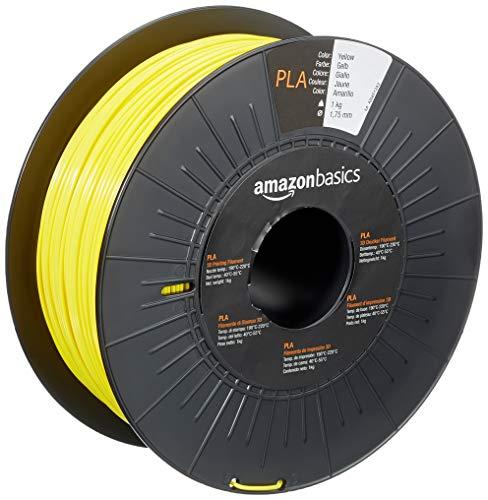 AmazonBasics - Filamento para impresora 3D, ácido poliláctico (PLA), 1,75 mm, cinta de 1 kg, amarillo