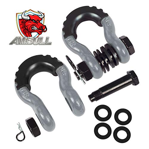 AMBULL Shackles 3/4 Inch D Ring Shackle (2 Pack) 41,850lb Break Strength with 7/8 Inch Pin, Isolator and Washer Kits for Use with Tow Strap, Winch, Off-Road Jeep Truck Vehicle Recovery (Grey)