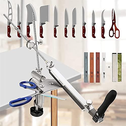 SEAAN Afiladores de cuchillos manuales profesionales 6 piedras de afilar (120 #, 320 #, 600 #, 1500 #, 5000 #, 10000 #), afilador de cuchillos con diseño giratorio de 360 ° para cocina casera