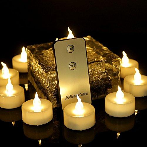 advocator 24pcs di candele, batterie ha portato candele senza fiamma con telecomando, Bianco caldo tremolante telecomando Luci tè per matrimonio Halloween Christmas Home Décor 24 Remote Warm White