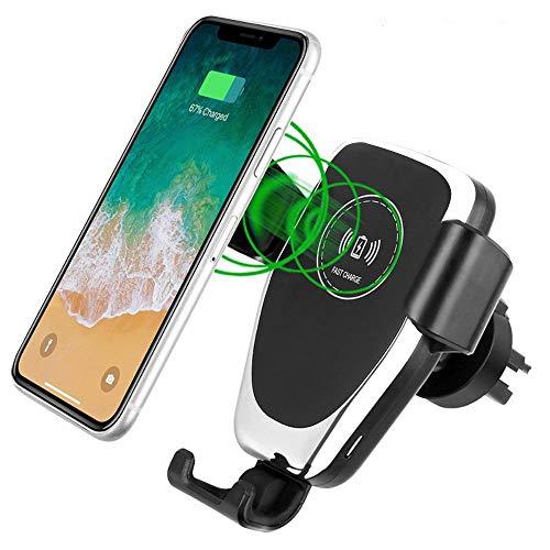 OSLOON 10W Wireless Charger Auto, caricatore rapido Qi 2 in 1 per ventilazione e parabrezza, supporto da auto per iPhone 12/11 / XS Max Pro, Samsung S9 / S8 + / Note, Huawei Mate 20 Pro ecc.