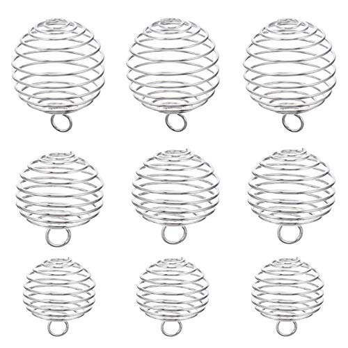 EXCEART Spiral Bead Cages Pendants, 24pcs 3 Sizes Silver Plated Spiral Stone Holder Necklace Cage Pendants for Jewelry Making and Crafting