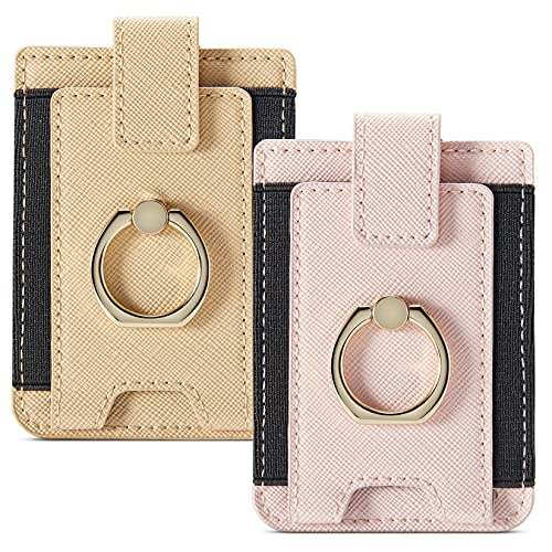 Phone Card Holder RFID Wallet Credit Adhesive Cell Case Stick-on Card Holder for Back of Phone for Most of Smartphones (Pink-Gold)