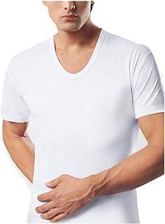 تي شيرت BYC 1903 للرجال برقبة على شكل حرف U قطن أبيض 100% قصير الأكمام 3 قطع ملابس داخلية